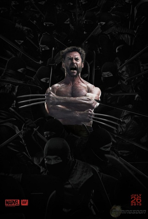 Il poster del giorno: The Wolverine. Ninja a sdeo. comicsalliance:  New 'The Wolverine' Poster And Pics Reveal New Baddies, Abundant Ninjas By Matt D. Wilson One thing we can rest assured director James Mangold's The Wolverine will have plenty of, at least if the newest poster for the movie posted today at SuperHeroHype is any indication, is ninjas. But what about shirts?Previous images have shown that Hugh Jackman's Wolverine may have unleashed his famous berseker rage at the concept of upper-body wear or, as he often does, lost all memory of shirts.Alas, a new set of stills from Entertainment Weekly prove that Wolverine will be shirted, at least a few times, during the film, which is set for release July 26. The evidence, along with looks at Viper (Svetlana Khodchenkova), Mariko (Tao Okamoto) and Yukio (Rila Fukushima) is at ComicsAlliance.