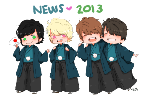 NEWS 2013  my super duper mega meka late new year's art! haha first NEWS drawing for 2013~ hope i'll be more productive this year!!! > o < ;; i really do hope so! i noticed i have been neglecting my tablet a bit too much, and it hurts me that i have become that kind of monster lol anyways! i know it's late, but who cares! it's still january, so… HAPPY 2013~!