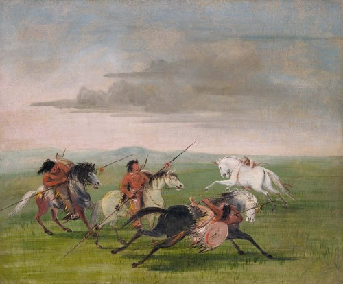 "cavetocanvas:  George Catlin, Comanche Feats of Horsemanship, 1834-35 From the Smithsonian American Art Museum:  ""Amongst their feats of riding, there is one that has astonished me more than anything of the kind I have ever seen, or expect to see, in my life:—-a stratagem of war, learned and practiced by every young man in the tribe; by which he is able to drop his body upon the side of his horse at the instant he is passing, effectually screened from his enemies' weapons as he lays in a horizontal position behind the body of his horse, with his heel hanging over the horses' back; by which he has the power of throwing himself up again, and changing to the other side of the horse if necessary. In this wonderful condition, he will hang whilst his horse is at fullest speed, carrying with him his bow and his shield, and also his long lance of fourteen feet in length, all or either of which he will wield upon his enemy as he passes; rising and throwing his arrows over the horse's back, or with equal ease and equal success under the horse's neck."" George Catlin sketched this scene in 1834, when he accompanied the United States Dragoons to Indian Territory. (Catlin, Letters and Notes, vol. 2, no. 42, 1841; reprint 1973)"