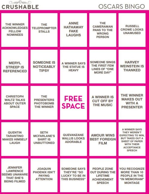 Click here to print our awesome Oscar's Bingo Game! FOUR different boards for you!