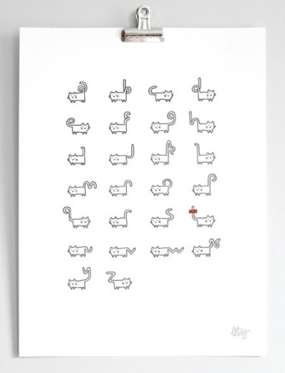 type-lover:  A typeface made out of cat by Bethany Lesko