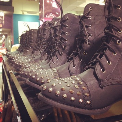 Studded combat boots for the spring?!? Why yes I would love a pair!!😊😊 #wetseal #bakersfield #newmerchandise #comeandgetthem (at Wet Seal)