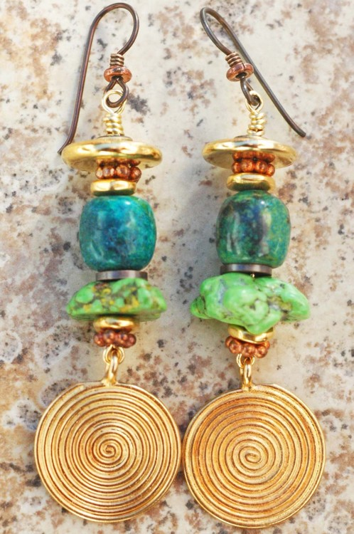Mojave Earrings: Green Turquoise, Copper and Gold Medallion Dangle Earrings