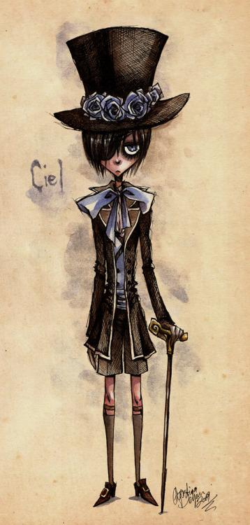 ask-sebaciel:  Ciel drawn in a Tim Burton kind of way. Pretty bad ass looking.