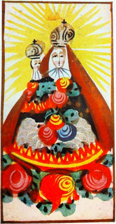 An 18th century miniature of Our Lady of Mariazell, Austria. Small colourful images like this were sold at the shrine for pilgrims to take home.