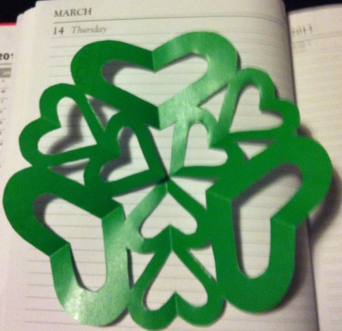 March 14th Kirigami  Green hearts to symbolise love for Occupational Therapy today. Some great creative pieces by the students. Thanks guys.