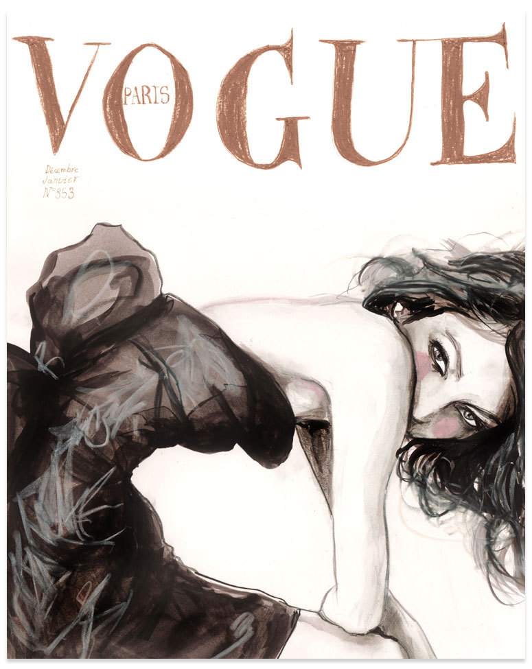 The Vogue Paris cover that inspired the black and white column dress Kate Young designed for Target. #danny roberts #vogue #illustration image via http://silk.tumblr.com/post/249339542