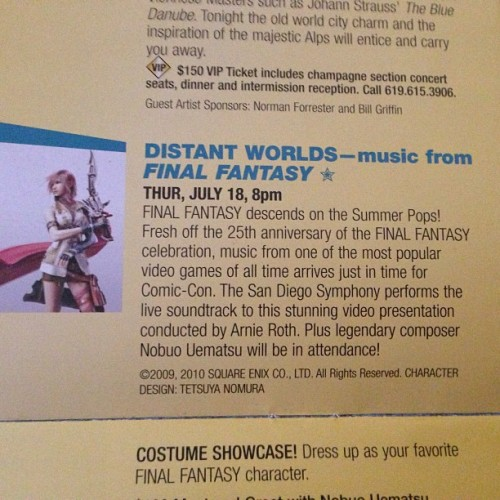 Distant Worlds coming back to San Diego and on my birthday!!