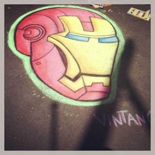Buffalo artist @Vintango iron man chalk art