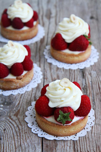 Lemon Tart with White Chocolate Cream and Strawberries
