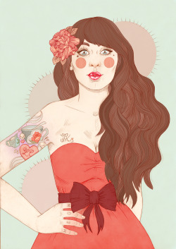 lcillustration:  Zooey is all coloured in! If you'd be interested in buying a print please email me: Liz.clements84@gmail.com. L x