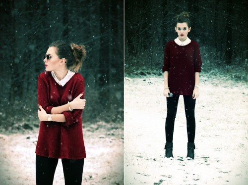 lookbookdotnu:  Burgundy sweater (by Ada Cajdler)
