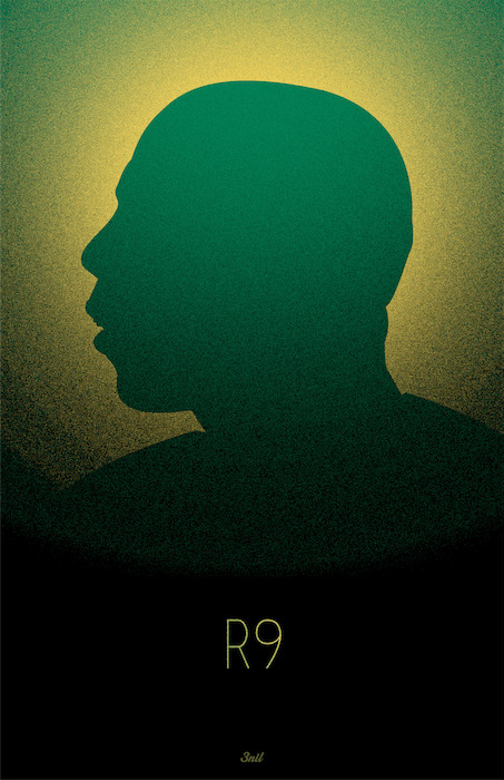 "3nil is proud to release 'R9', a poster paying homage to one of the greatest strikers of all time. That striker is Ronaldo. Featuring his beloved Brazil's yellow and green, this poster captures the spirit of a true legend of our beautiful game. Printed on beautiful 12"" x 18"" Premium Poster on 110lb Matte Cover (300gsm). Get yours today at http://www.threenil.com/products/r9"