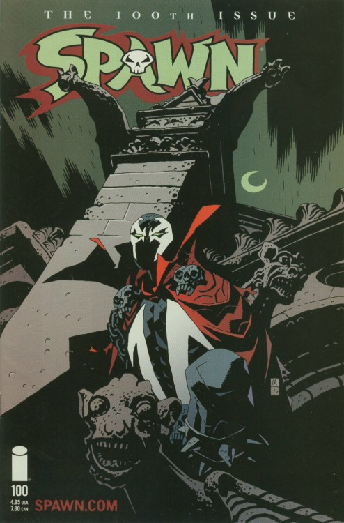 comicbookcovers:  Spawn #100, November 2000, variant cover by Mike Mignola