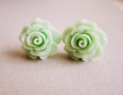 Sweet Mint Green Rose Earrings - JEWELSALEM