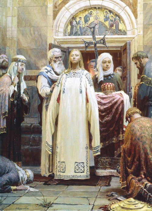 "mediumaevum:  Saint Olga (of Kiev) It is a strange historical twist that the first ""Russian"" woman to be canonized in the Orthodox Church was a Viking warrior princess who spent much of her life as a pagan. Olga earned her sainthood by becoming the first member of the house of Riurik, the dynasty that ruled European Russia and parts of Ukraine and Belorus for more than seven centuries (860s – 1598), to convert to Christianity. But the role of this battle maid in the spread of Christendom to the eastern Slavs is only part of her remarkable contribution to the history of Eastern Europe. You can read the rest of the story about her here. image: Baptism of Princess Olga by Sergei Kirillov. HQ"