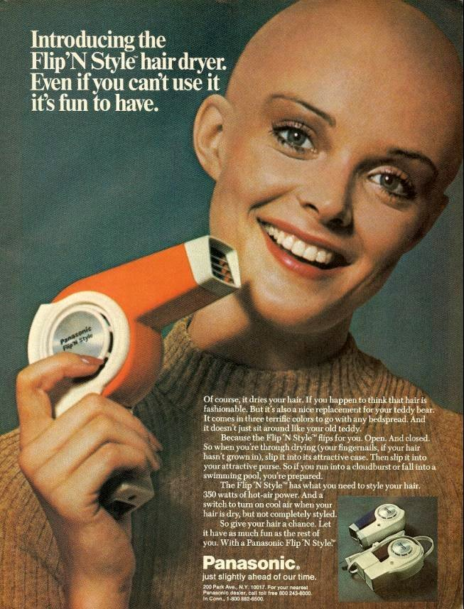 weirdvintage:  Flip n' Style Hairdryer ad from 'Teen magazine, 1972 (via vintage-ads)  HAHAHAHA gotta love vintage ads! No boundaries