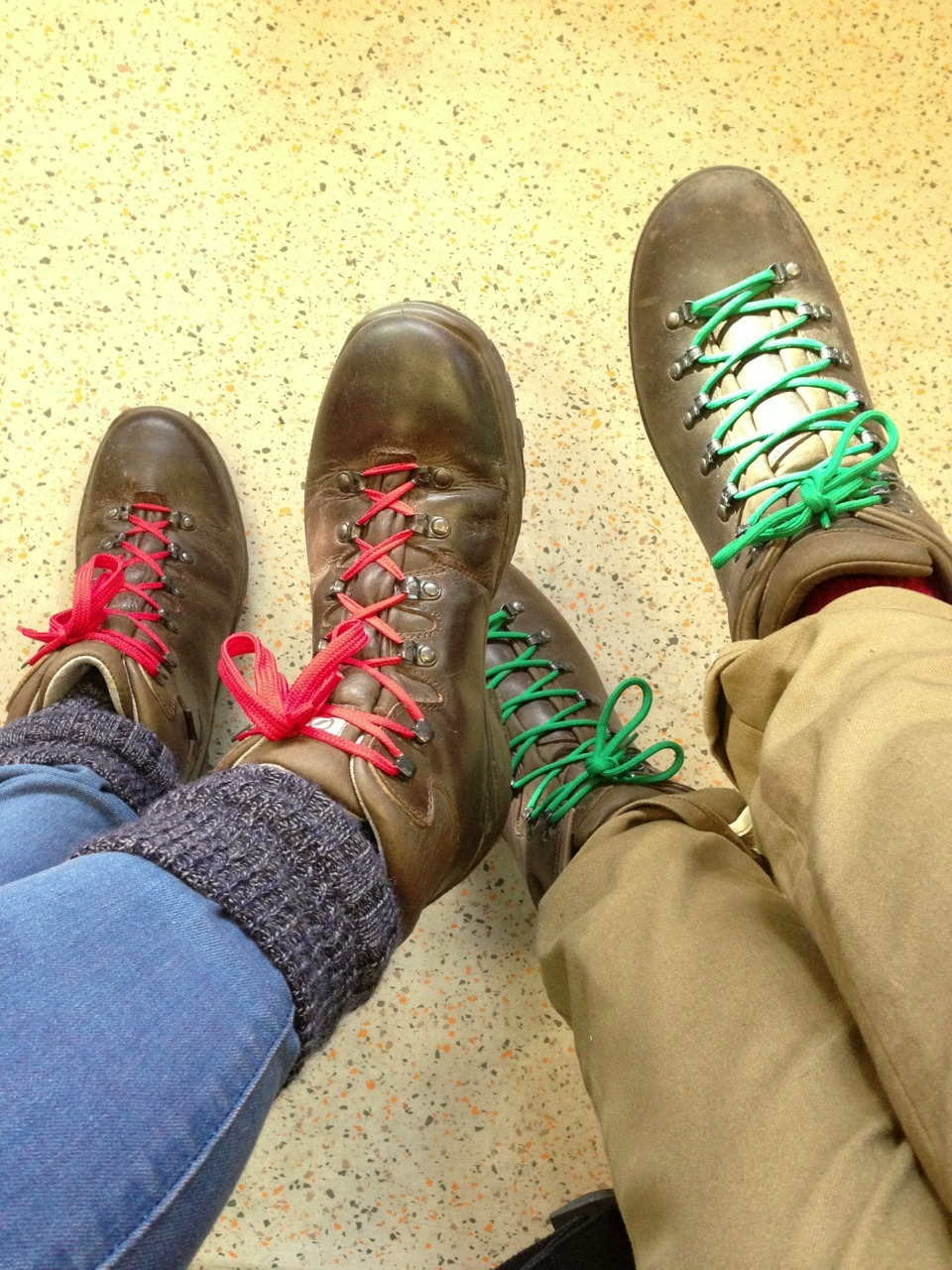 We're wearing his and hers hiking boots. Is that tragic, or sweet?