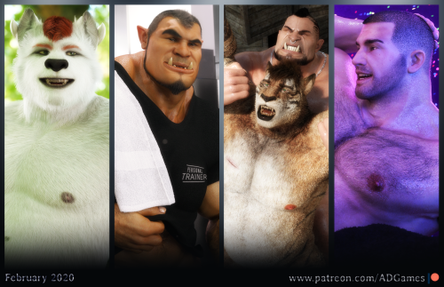 February, a very sweet month! Only a few days left to enjoy! ;)    https://patreon.com/ADGames #ad games#patreon#nsfw#gay#tiger#wolf#orc#human
