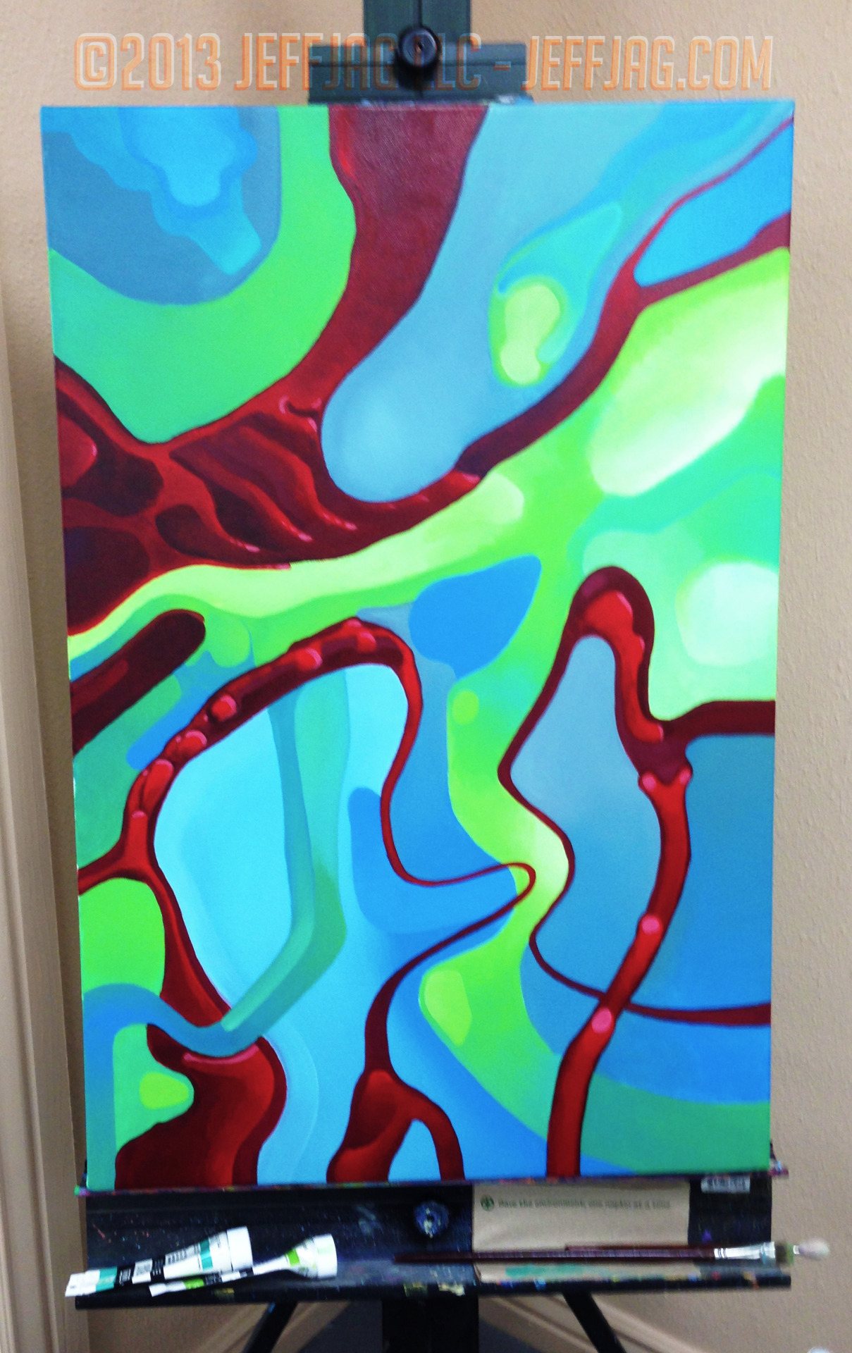 "©2013 jeffjag llc, Live, New, Acrylic Painting by JeffJag. RGB. 20""x30"" progress 31. #HOTMAY"