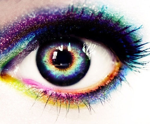 xrosesrevenge:  rainbow eye makeup on We Heart It - http://weheartit.com/entry/55321244/via/angel_spawn