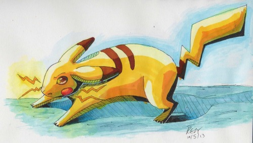 A real media (Watercolour, Markers, Gouache) of pikachu. Done while my fiancé was playing AshGrey (a rom hack where you follow the anime!)