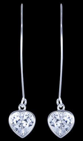 Silver earrings, CZ, heartsSilver earrings, Ag 925/1000 – sterling silver. With stones (CZ – cubic zirconia). Zircon heart set…View Post