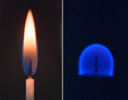 futurist-foresight:  Another look at life in space. This time how a candle burns aboard the International Space Station (ISS). atomstargazer:  A comparison between the combustion of a candle on Earth (left) and in a microgravity environment, such as that found on the ISS.