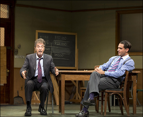 "Bobby Cannavale as Richard Roma (right) in David Mamet's play ""Glengarry Glen Ross"" opposite Al Pacino (left). On Fresh Air today, Cannavale describes his work on Broadway:  [Glengarry] is one of those plays that actors talk about and say, 'It's a perfect play.' And it's a perfect play because it's about, you know, seven guys who desperately want something and need something at a time when people desperately want and need things. It was written, you know, in 1982. I think it's a prescient play to do today, but let's face it, I mean, I think great plays are about people wanting things, [being] desperate for things. I think [that's] what makes great drama, and I think that's one of those things that's just always resonant. It's just what we are as a culture and in America in particular.""  photo via Playbill"