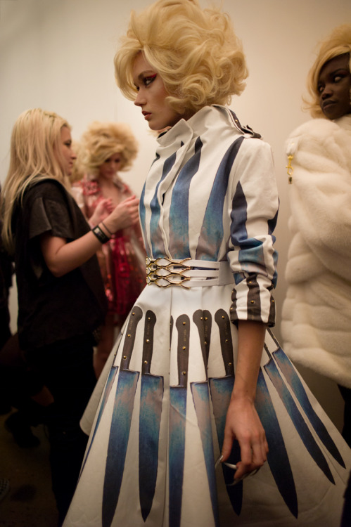 Knife dress at The Blonds show Photo by Amanda Hakan
