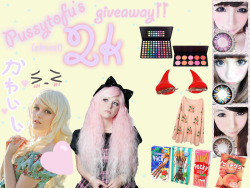 pussytofu:  ok guys giveaway time ヾ(@⌒ー⌒@)ノ ♥♥♥♥♥♥♥♥♥♥♥♥♥♥♥♥♥♥♥♥♥♥♥♥♥♥♥♥♥♥♥ to celebrate all (almost) 2k of you I'm going to be doing a giveaway which includes classic wavy platinum blonde gothic lolita wig pale pink rhapsody gothic lolita wig 70cm natural wave brown wig from ebay (not pictured) set of BLACK devil hairclips 10 blush palette from costal scents 85 shimmer palette from costal scents pair of circle lenses from circlelens2u.com (celestial line or one of equal or lesser value) Pink flower distressed knitted jumper various japanese goodies such as POCKY, CHOCOBOY, YANYAN, KASUGAI GUMMIES, etc. hand made decoden iphone case/compact/treasure box, whatever you'd like! (followers also can get….figurines, wall scrolls, anime merchandise, extra candy, extra makeup, key chains, etc. but what I have chosen will not be revealed until you receive your package)                             RULES MUST BE 18 YEARS OLD OR HAVE PARENTAL CONSENT ( I will need your shipping information YOU DO NOT NEED TO BE FOLLOWING ME, BUT FOLLOWERS WILL GET EXTRA GOODIES NOT DISPLAYED HERE REBLOGS ONLY, LIKES DO NOT COUNT NO GIVE AWAY BLOGS (I will be checking) DO NOT DELETE THIS TEXT WgHEN REBLOGGING MUST HAVE YOUR ASK BOX OPEN FOR ME TO CONTACT YOU SHIPPING WILL BE COVERED WORLD WIDE GIVEAWAY ENDS APRIL 26TH, 2013 WINNER WILL BE CHOSEN BY RANDOM.ORG Failure to comply with any of these rules will lead to disqualification. Winner will be contacted April 26th, 2013 and if they do not claim their prizes within 24 hours I will choose another winner. The winner decides whether they want to remain private or if I post their URL. Winner will need to provide: shipping address, clothing size, any possible allergies please contact me if you have any questions/concerns and good luck~! ♥♥♥♥♥♥♥♥♥♥♥♥♥♥♥♥♥♥♥♥♥♥♥♥♥♥♥♥♥♥♥
