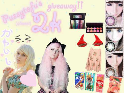 pussytofu:  ok guys giveaway time ヾ(@⌒ー⌒@)ノ ♥♥♥♥♥♥♥♥♥♥♥♥♥♥♥♥♥♥♥♥♥♥♥♥♥♥♥♥♥♥♥ to celebrate all (almost) 2k of you I'm going to be doing a giveaway which includes classic wavy platinum blonde gothic lolita wig pale pink rhapsody gothic lolita wig 70cm natural wave brown wig from ebay (not pictured) set of BLACK devil hairclips 10 blush palette from costal scents 85 shimmer palette from costal scents pair of circle lenses from circlelens2u.com (celestial line or one of equal or lesser value) Pink flower distressed knitted jumper various japanese goodies such as POCKY, CHOCOBOY, YANYAN, KASUGAI GUMMIES, etc. hand made decoden iphone case/compact/treasure box, whatever you'd like! (followers also can get….figurines, wall scrolls, anime merchandise, extra candy, extra makeup, key chains, etc. but what I have chosen will not be revealed until you receive your package)                             RULES MUST BE 18 YEARS OLD OR HAVE PARENTAL CONSENT ( I will need your shipping information YOU DO NOT NEED TO BE FOLLOWING ME, BUT FOLLOWERS WILL GET EXTRA GOODIES NOT DISPLAYED HERE REBLOGS ONLY, LIKES DO NOT COUNT NO GIVE AWAY BLOGS (I will be checking) DO NOT DELETE THIS TEXT WHEN REBLOGGING MUST HAVE YOUR ASK BOX OPEN FOR ME TO CONTACT YOU SHIPPING WILL BE COVERED WORLD WIDE GIVEAWAY ENDS APRIL 26TH, 2013 WINNER WILL BE CHOSEN BY RANDOM.ORG Failure to comply with any of these rules will lead to disqualification. Winner will be contacted April 26th, 2013 and if they do not claim their prizes within 24 hours I will choose another winner. The winner decides whether they want to remain private or if I post their URL. Winner will need to provide: shipping address, clothing size, any possible allergies please contact me if you have any questions/concerns and good luck~! ♥♥♥♥♥♥♥♥♥♥♥♥♥♥♥♥♥♥♥♥♥♥♥♥♥♥♥♥♥♥♥