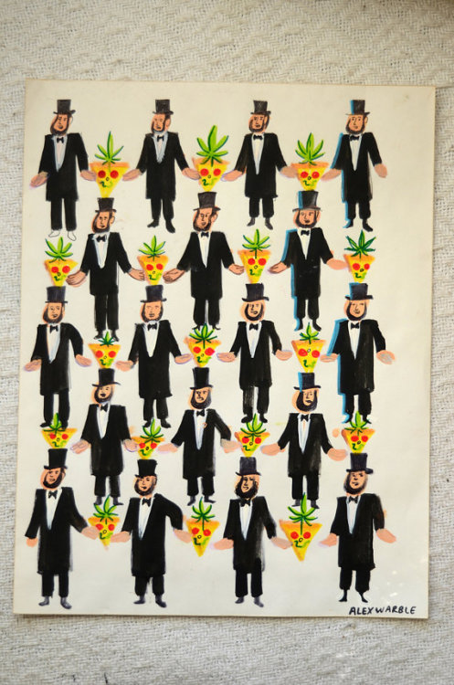 Ok, um I kind of really want Abe Lincoln stoned pizza art by Alex Warble real bad. It can be yours on Etsy for $100.