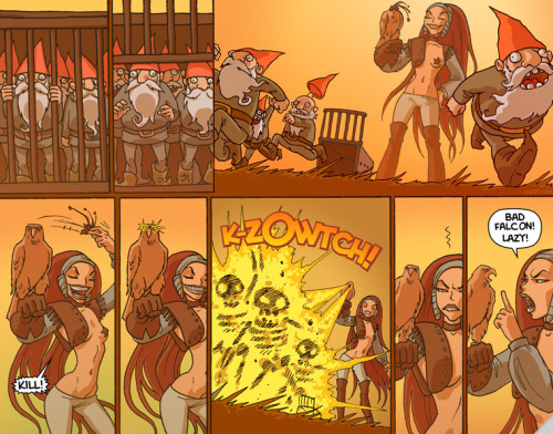 sirithy:  Realistic depiction of what it would be like if Leman Russ and Magnus the Red went hunting together. Comic from Oglaf, which is pure awesome.