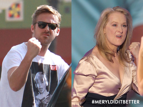 meryldiditbetter:  Gosling paparazzi pose. Meryl did it better.