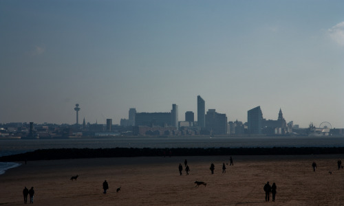 Liverpool waterfront from New Brighton Beach