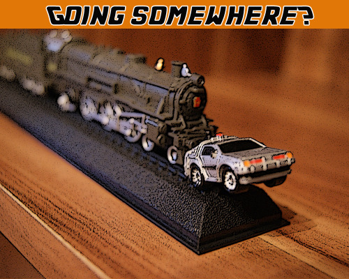 Custom Back to the future model; I used a model train and a mini Delorean I have.Made with Sony alpha 330 and PS5; Font belongs to the creator!!!