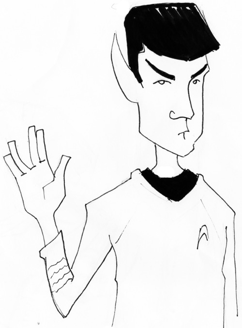 dexterpresents:  Day 150 Spock Sketch Just saw the new Star Trek film so I decided to draw Spock. Due to how late it is, you get poopy sketch. Soon to be less poopy artwork. Oh and yay 150 1 a days! Thanks a lot for sticking around and liking and sharing my art and whatnot. You guys are all the tits!