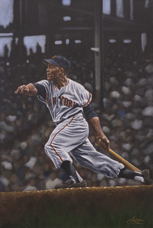 "Willie Mays painting, 24"" by 36"", acrylic on canvas."