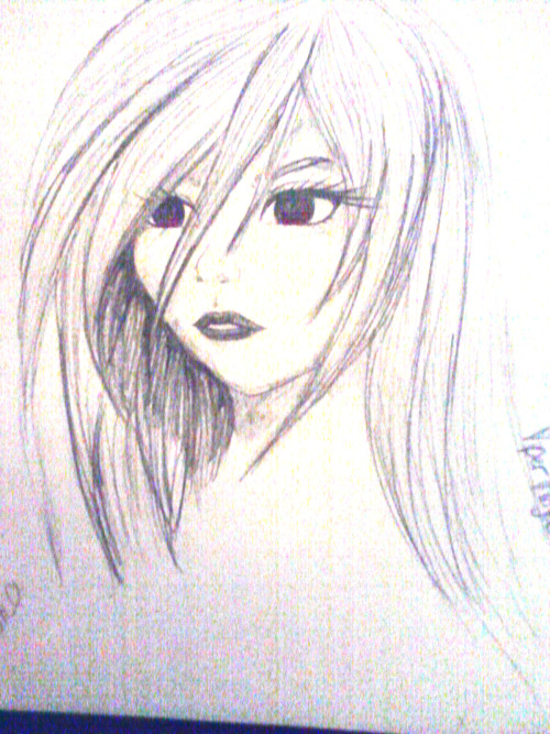 Moka (Rosario + Vampire) drawn in my art style in pencil. Sorry for the quality, it was taken with a phone camera. I'll probably upload it to Photoshop and draw a digital copy. Please credit if used.