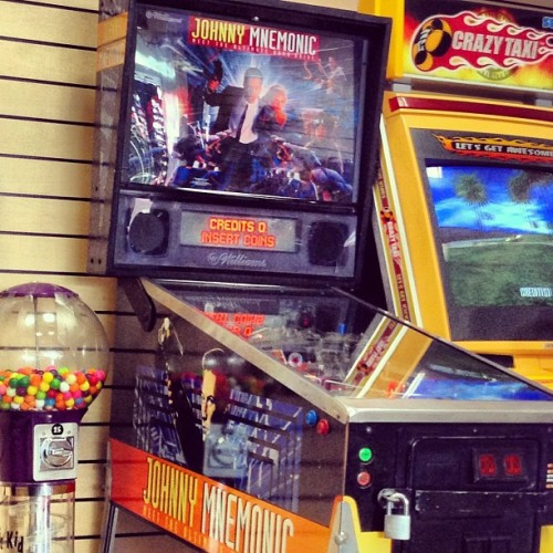 paulftompkins:  THIS is the pinball machine at my car wash? I have GOT to treat myself better.  Think of the small window of time it would have been thought cool to make and purchase a Johnny Mnemonic pinball machine.