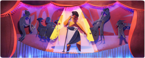 "Google celebrates the 96th birthday of Ella Fizgerald, also know as the ""Queen of Jazz"", or ""First Lady of Song"", an legendary American jazz vocalist. (via Google)"