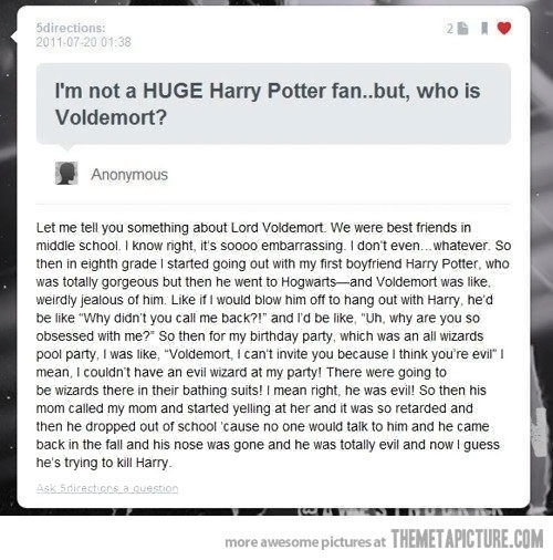 funny Voldemort story Harry Potter