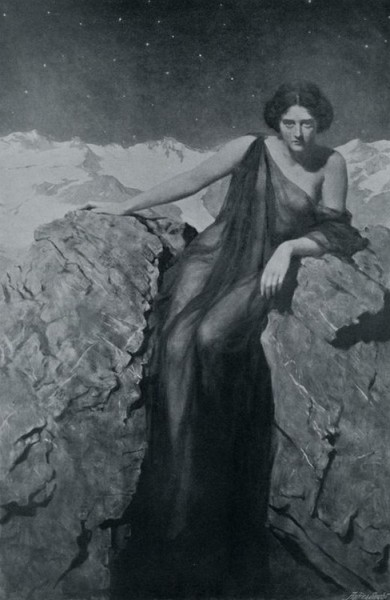 spookpriestess:  Hon John Collier, The Summer Night That Paused Among Her Stars in Black & White