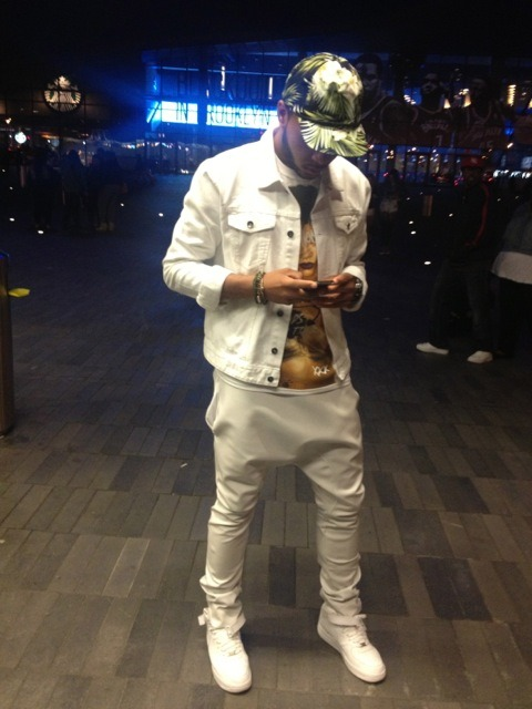 blackfashion:  Michael, 19, NYC. White Jean Jacket, Rihanna DWT Tee, FadedNYC Faux Leather Harems, White Uptowns. http://mikeyoungg.tumblr.com  He fresh
