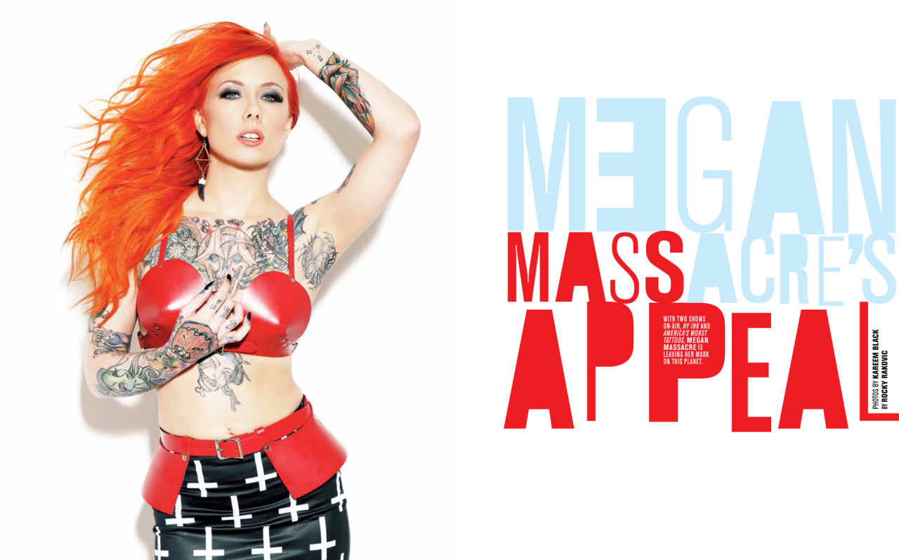 Cover shoot with Megan Massacre ( @megan_massacre ) for Inked Magazine spread #1