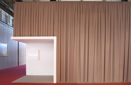 "The STUA stand in Milano was closed, with Kvadrat curtains, to give a theatrical feeling, inside ""Love Your Home"" concept was featured. This has been a Jon Gasca and Javier Guerrero design.STUA Design Etc"