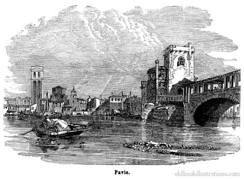 View of Pavia and the Ponte Coperto.  From Dictionnaire encyclopédique Trousset, Paris, 1886 - 1891.  (Source: oldbookillustrations.com)