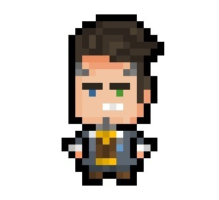 "pixelblock:  Handsome Jack, probably unhinged president of the Hyperion Corporation, de facto dictator of Pandora and main antagonist of Gearbox's ""Borderlands 2"", now derezzed to a tiny 14 x 25 pixel resolution. Requested by:http://fisherpon.tumblr.com/"