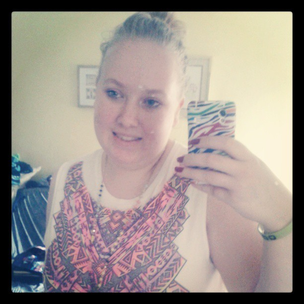 #newtop #new phone case # hair up # worried for my siter # arm op for my little trooper :-(